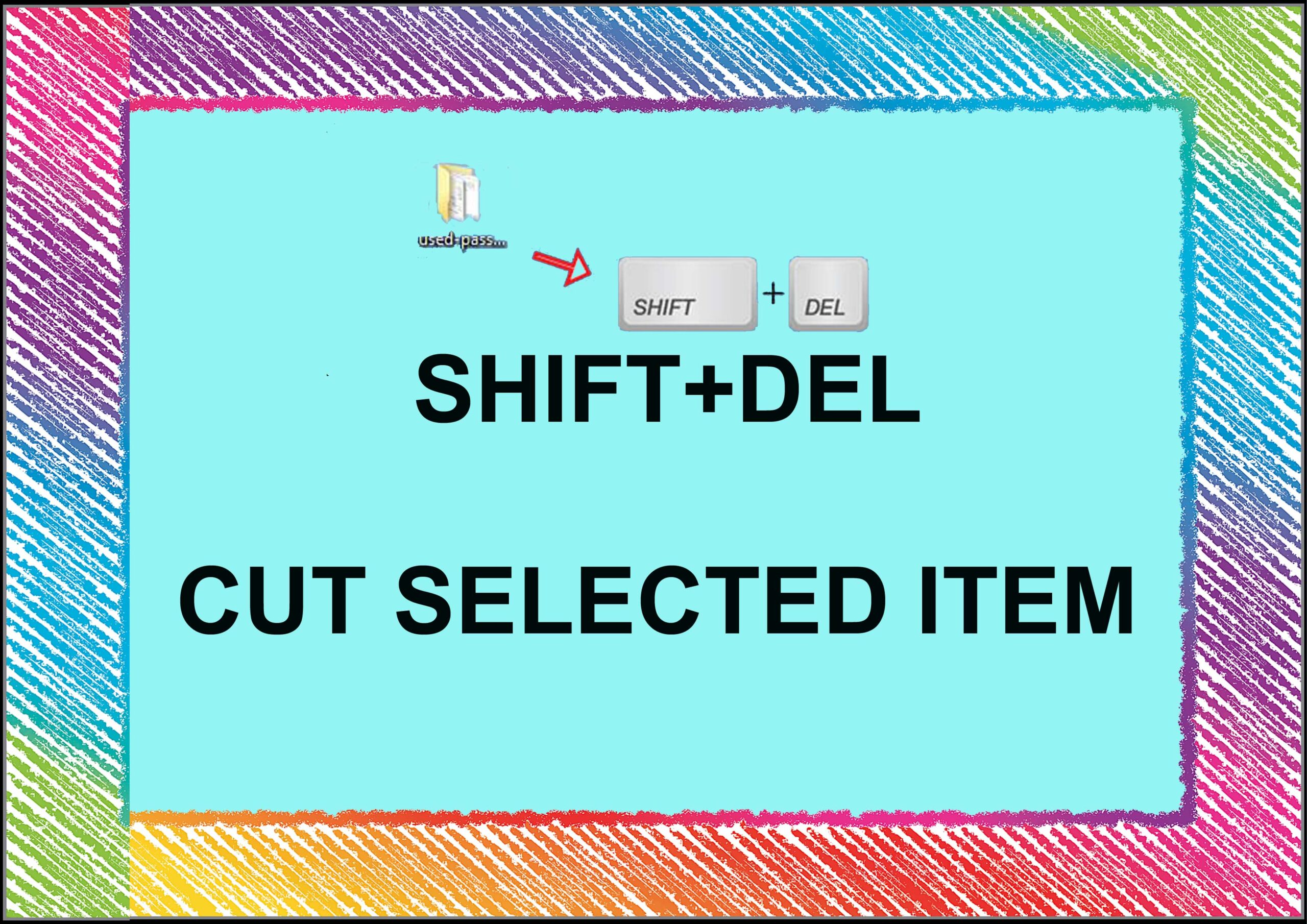 shift+del=cut selected item