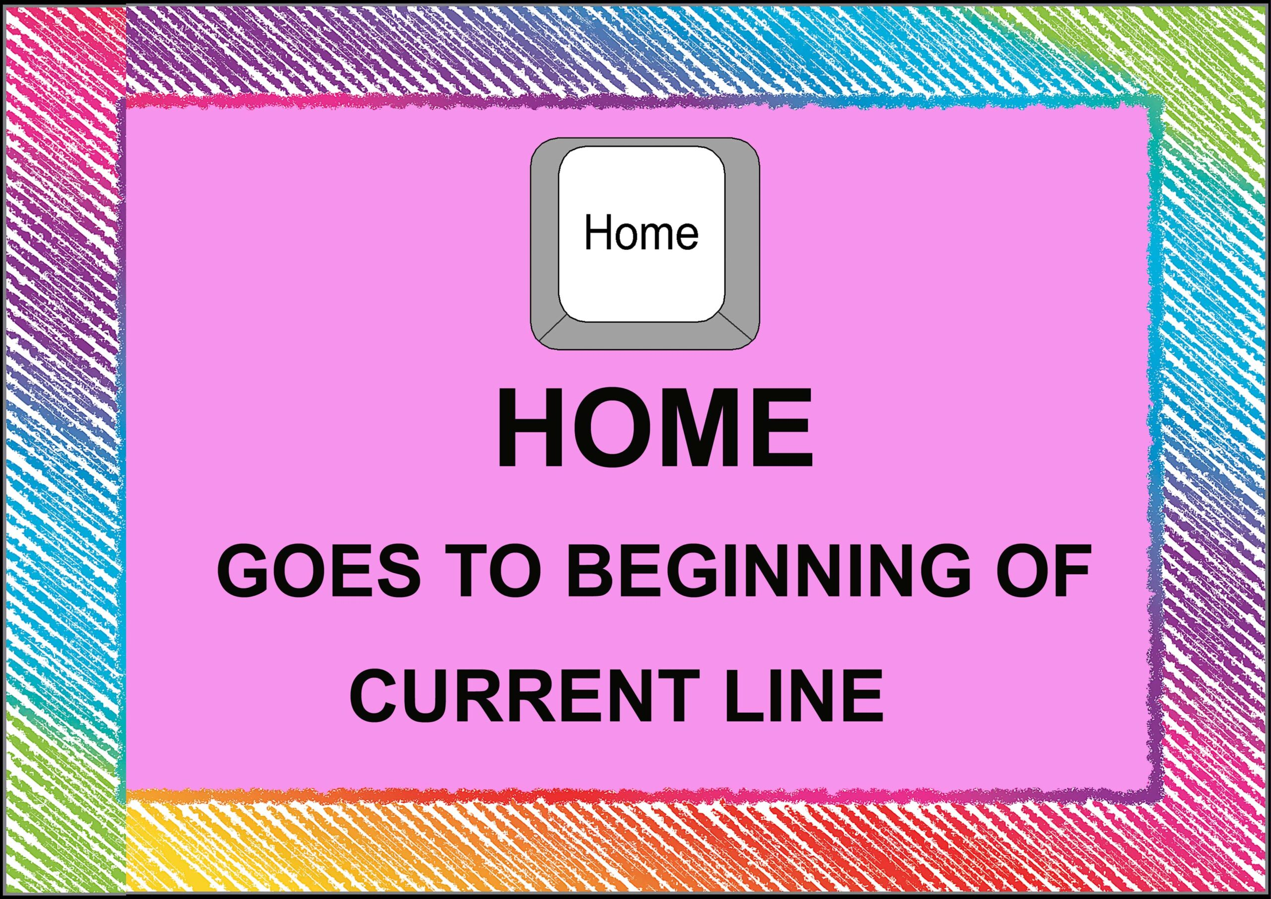 Home= Goes to Beginning Of Current Line