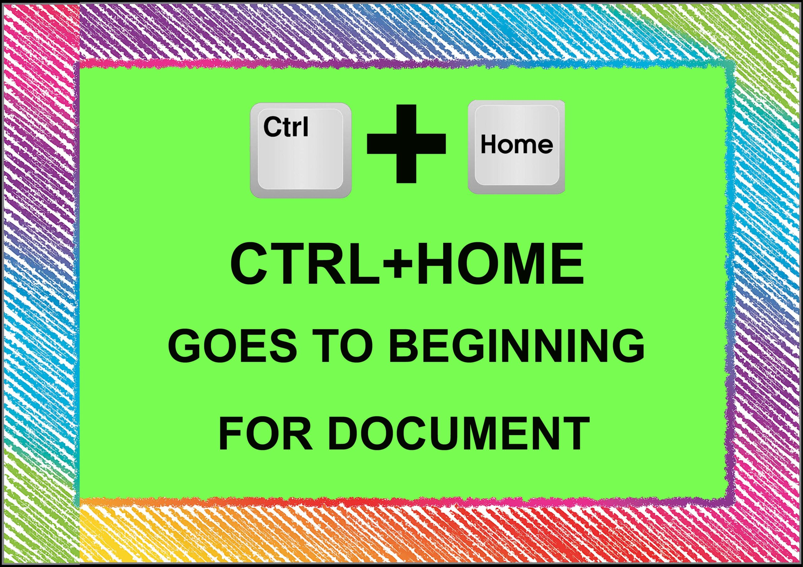 Ctrl+ Home = Goes To Beginning For Document