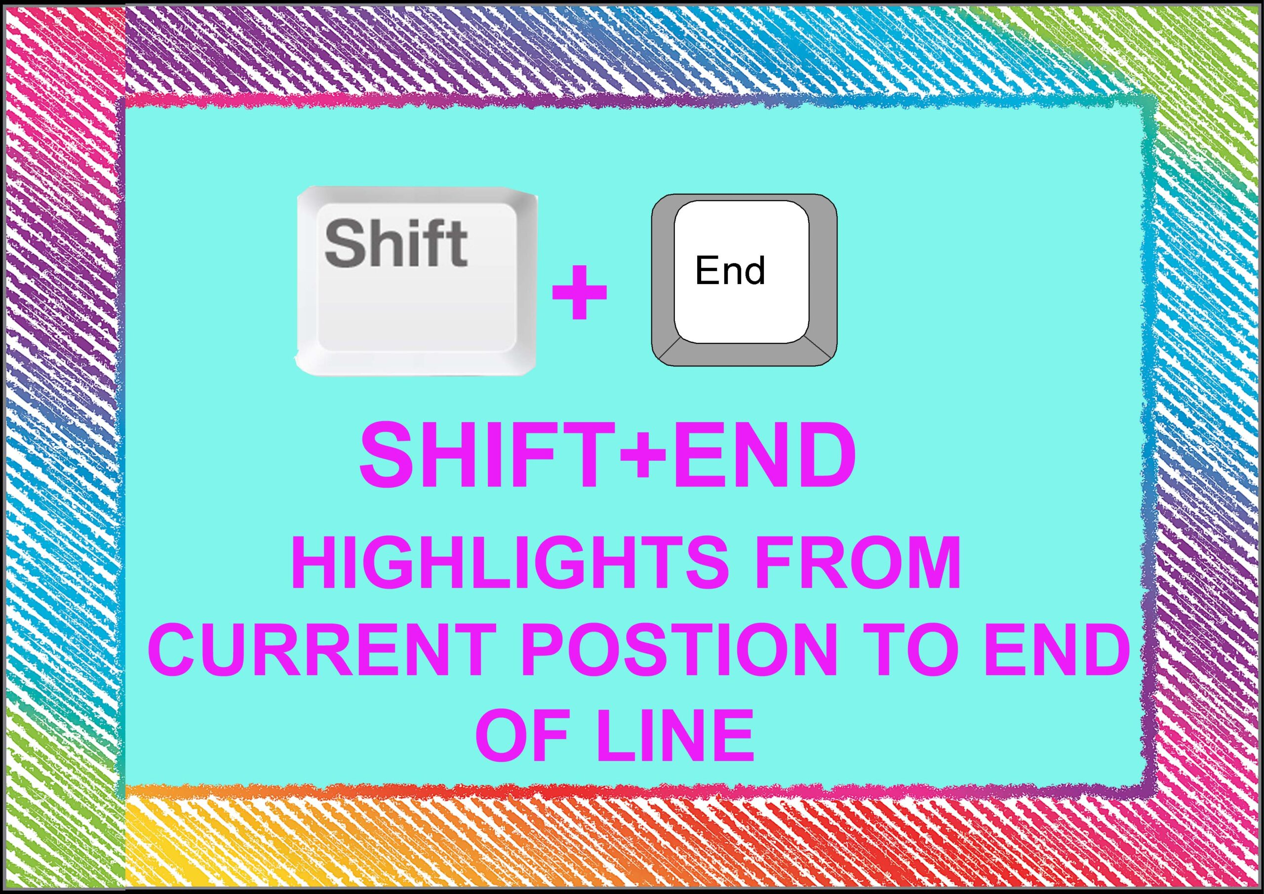Shift+ End= Highlight From Current Position to End of Line