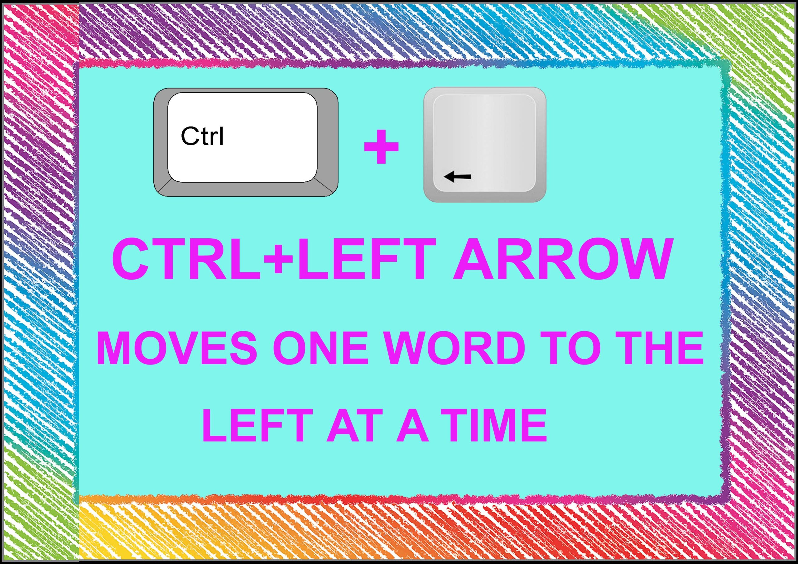 Ctrl+ Left Arrow= Moves One Word To The Left At A Time